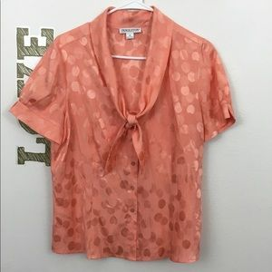 PENDLETON POLKA DOT TIE NECK SILK TOP